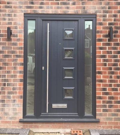 Black Door with Side Windows