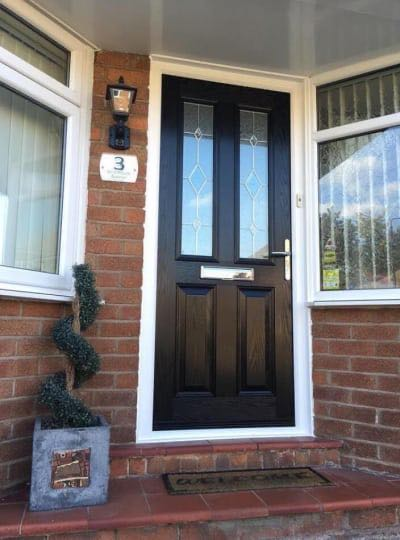 Black Double Pained Window Front Door