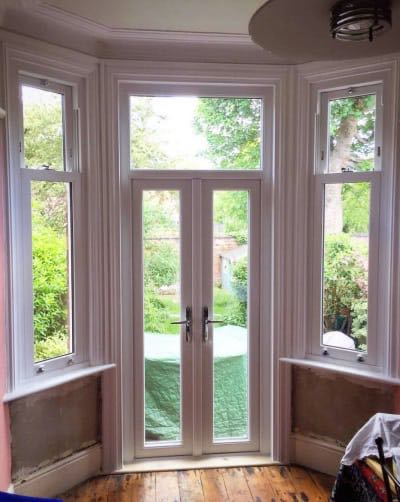 French Doors with Sliding Sash Windows inc internal timber Architraves & Cills