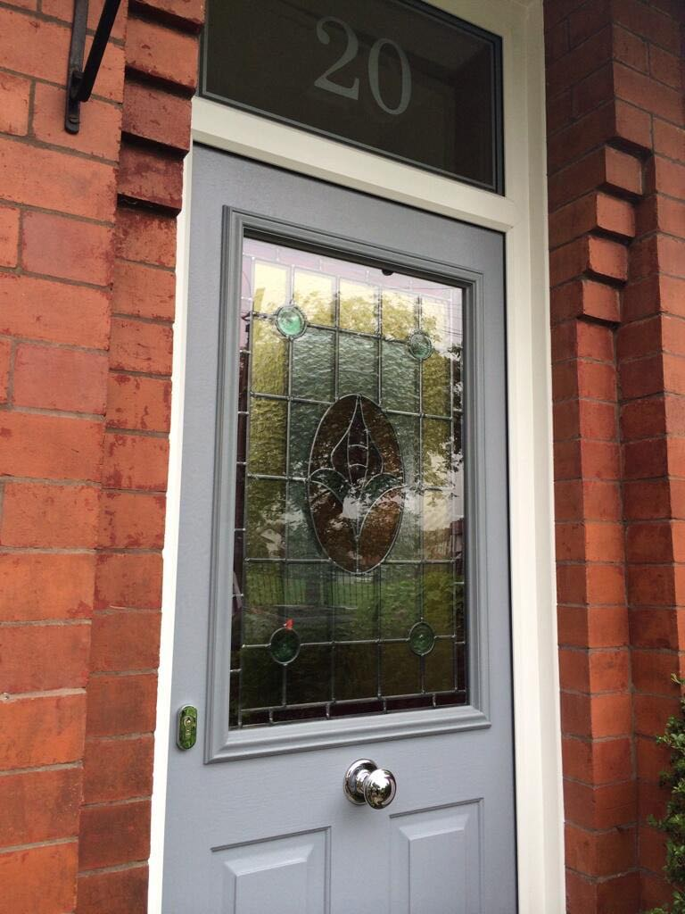 French grey solidor with original stained glass sale for French doors for sale uk