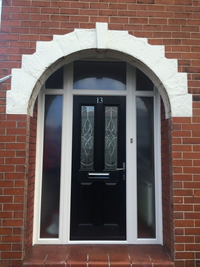 Black composite door with royale glass the window company for Door window company