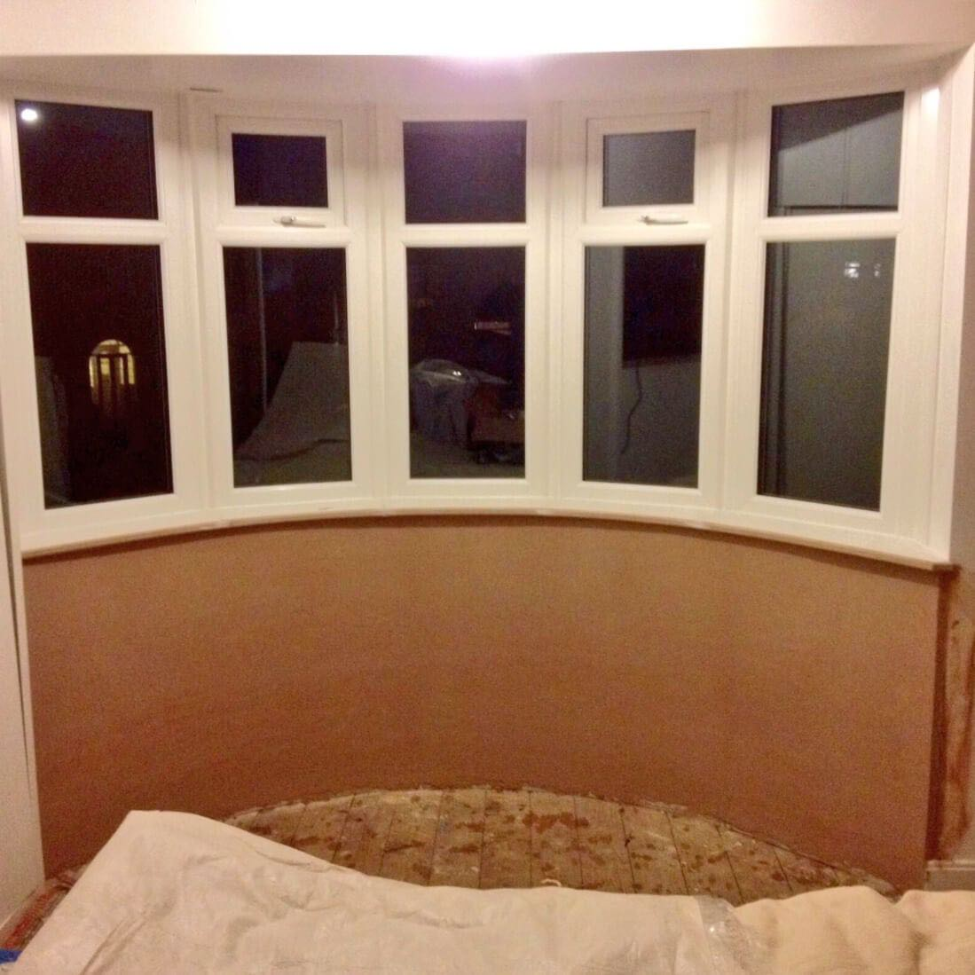 Bay window with curved plaster and cill the window company for Curved bay window