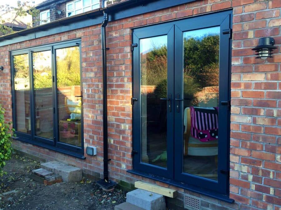 Grey aluminium bi folding doors upvc french doors sale for Upvc french doors grey