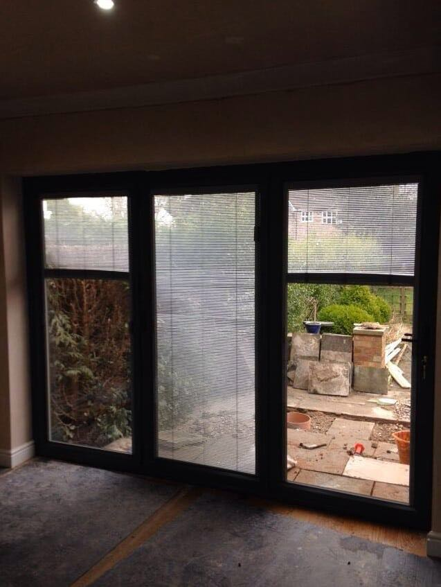 Grey Bi Folding With Integral Blinds The Window Company