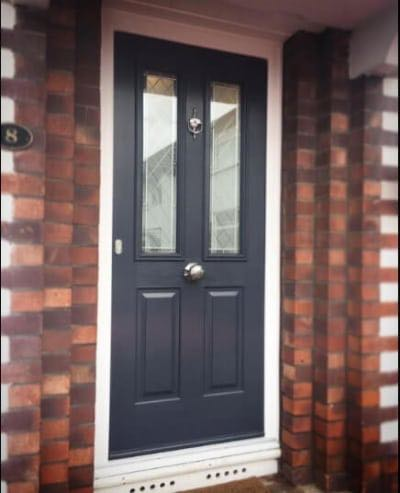 Grey Solidor with traditional door knob